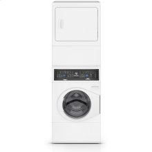 """27"""" Electric Stacked Washer Dryer with 9 Preset Washer Cycles, White"""