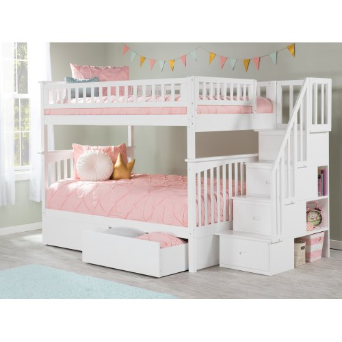 Columbia Staircase Bunk Bed Full over Full with Urban Bed Drawers in White