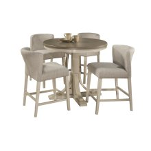Clarion 5-piece Round Counter Height Dining Set With Wing Arm Stools - Distressed Gray Top With Sea