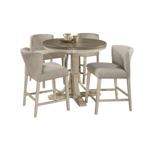 Hillsdale FurnitureClarion 5-piece Round Counter Height Dining Set With Wing Arm Stools - Distressed Gray Top With Sea