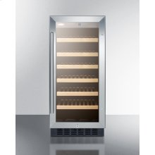 "15"" Wide Wine Cellar for Built-in or Freestanding Use, With Stainless Steel Wrapped Cabinet, Glass Door, and Lock"