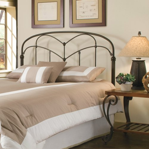 Pomona Metal Headboard Panel with Curved Grills and Detailed Posts, Hazelnut Finish, Twin