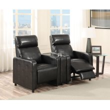 Arcadia Black Push-Back 2-Piece Reclining Theater Set