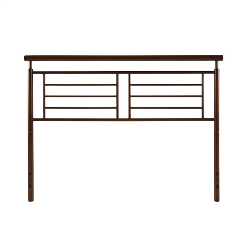 Southport Complete Metal Bed and Steel Support Frame with Geometric Grills and Rounded Top Rails, Copper Penny Finish, Queen