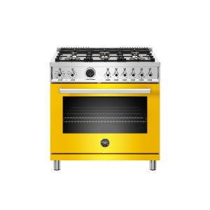 Bertazzoni36 Inch Dual Fuel Range, 6 Brass Burner, Electric Self-Clean Oven Giallo