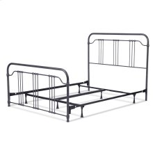 Wellesly Complete Bed with Metal Spindled Grills and Rounded Corners, Marbled Navy Finish, King