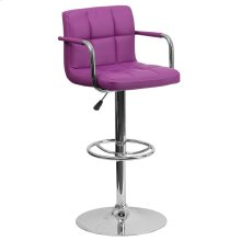 Contemporary Purple Quilted Vinyl Adjustable Height Barstool with Arms and Chrome Base