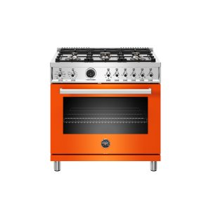 Bertazzoni36 inch Dual Fuel Range, 6 Brass Burner, Electric Self-Clean Oven Arancio