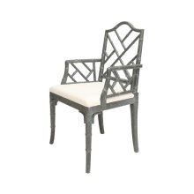 Chippendale Style Bamboo Dining Armchair In Grey Cerused Oak Seat Height 18.5