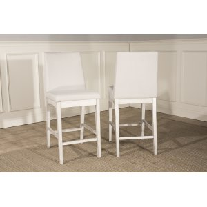 Hillsdale FurnitureClarion Non-swivel Parson Counter Height Stool - Set of 2 - Sea White