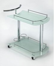 This attractive modern bart cart is a must-have for anyone that enjoys entertaining. It features a chrome plated tubular metal frame, white tempered glass shelves - each with a chrome plated gallery - and wine bottle storage for up to 3 bottles on the bot Product Image