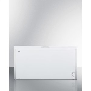 SummitCommercially Listed 18 CU.FT. Manual Defrost Chest Freezer In White With Stainless Steel Corner Protectors