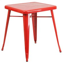 23.75'' Square Red Metal Indoor-Outdoor Table