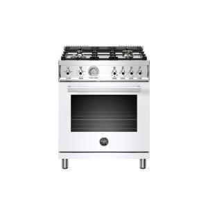 Bertazzoni30 inch All Gas Range, 4 Brass Burner Bianco