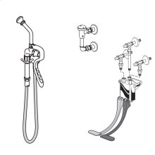 Bed Pan Cleanser with Wall Mounted Pedal Valve - Polished Chrome
