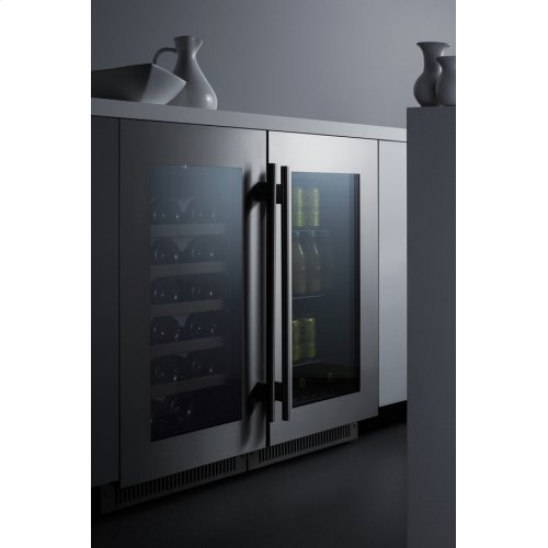"18"" Wide Built-in Wine Cellar With Seamless Stainless Steel Trimmed Glass Door"