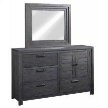 Door Dresser \u0026 Mirror - Distressed Dark Gray Finish
