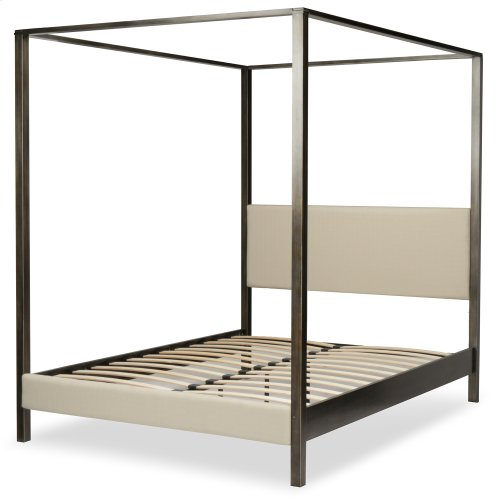 Avalon Canopy Platform Bed with Platinum Upholstered Headboard and 80-Inch Bed Posts, Slate Finish, Queen