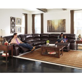 Damacio 6-Pc Sectional LAF Zero Wall Power Recliner w/ Console, Armless Chair, Wedge, Armless Chair and RAF Power Chaise - Dark Brown Collection