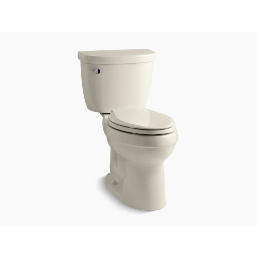 Almond Comfort Height Two-piece Elongated 1.6 Gpf Toilet With Aquapiston Flush Technology, Left-hand Trip Lever and Tank Locks, Seat Not Included