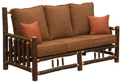 Hickory Log Frame Sofa - Upgrade Fabric - Includes Fabric and Cushions