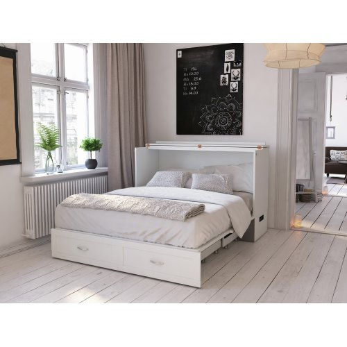 Hamilton Murphy Bed Chest Queen White with Charging Station