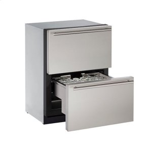 """U-Line 24"""" Refrigerator Drawers With Stainless Solid Finish (115 V/60 Hz Volts /60 Hz Hz)"""