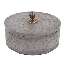 Round Faux Ostrich Skin Decorative Box, Large