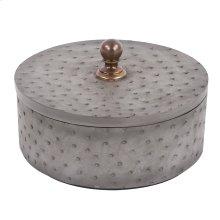 Round Faux Ostrich Skin Decorative Box, Large