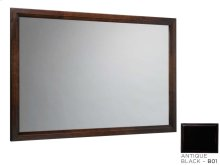 "Transitional 60"" x 39"" Solid Wood Framed Bathroom Mirror in Antique Black"