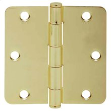 "Door Hardware  3.5"" Round Hinge 1/4"" Radius - Bright Brass"