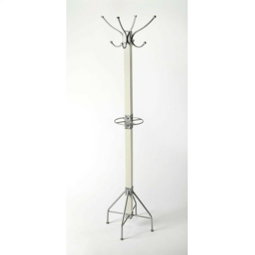 This rustic contemporary coat rack is an ideal addition in any entryway, den or office space to hang hats, jackets, umbrellas, or in a bathroom for towels and robes. It features 2 tiers of silver finished iron hooks and a matching base with a solid mango