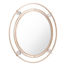Floating Round Lucite Mirror Gold & Lucite