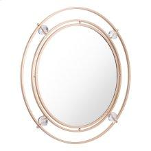 Floating Round Lucite Mirror Gold & Lucite