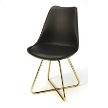 Pull this stylish chair, up to your modern breakfast table. Has a black faux leather seat on a molded plastic frame, that brings comfort to any seating arrangement, perched atop steel legs in a polished gold finish.