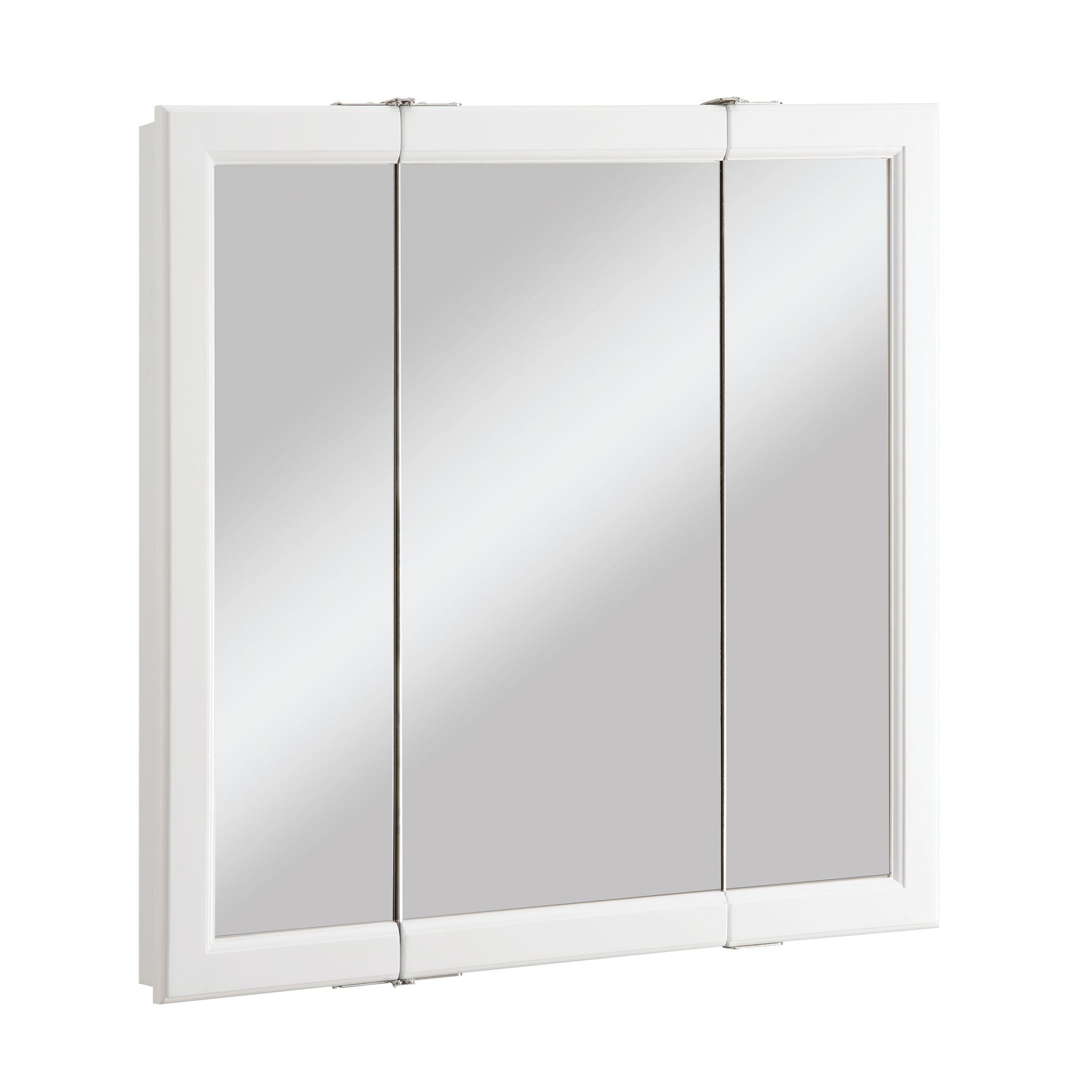 """Wyndham Tri-View Medicine Cabinet Mirror, 30"""", White #545293"""