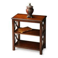 This petite bookcase is perfect wherever space is limited and book storage is needed. Crafted from hardwood solids, wood products and choice cherry veneers, it features X side supports and cherry veneer shelves. Finished on all sides.
