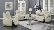 Transformers Taupe Power Leather Reclining Loveseat