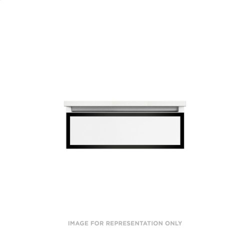 """Profiles 24-1/8"""" X 7-1/2"""" X 18-3/4"""" Framed Slim Drawer Vanity In Satin White With Matte Black Finish and Slow-close Tip Out Drawer"""