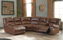6 Pc LAF Chaise Reclining Sectional w/Console