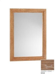 """Transitional 24"""" x 33"""" Solid Wood Framed Bathroom Mirror in Aged Oak"""