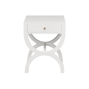 Worlds AwayOne Drawer Side Table In Matte White Lacquer