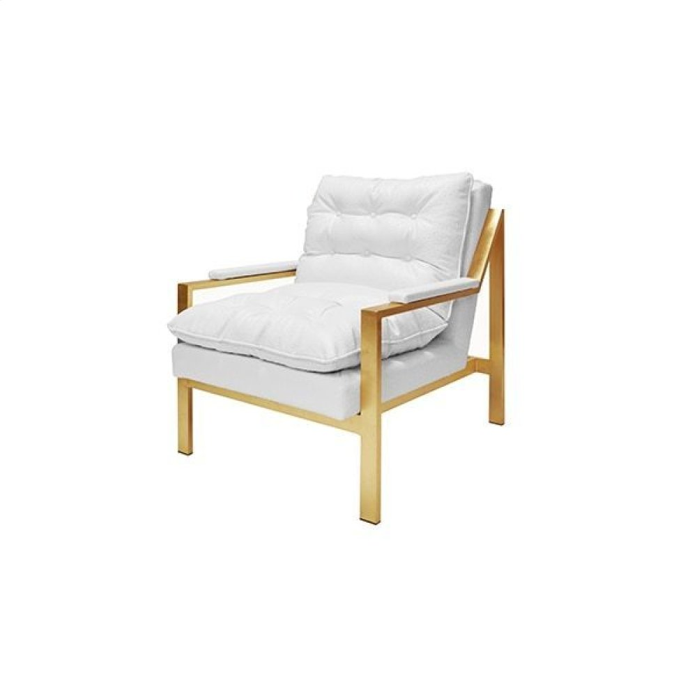 Golf Leaf Armchair In White Ostrich