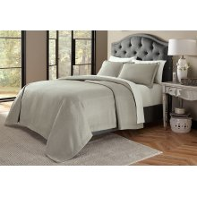 3pc King Bed Throw Set Gray