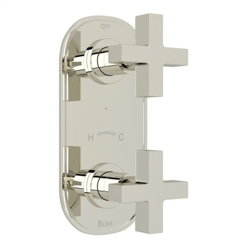 """Polished Nickel Pirellone 1/2"""" Thermostatic/Diverter Control Trim with Cross Handle"""
