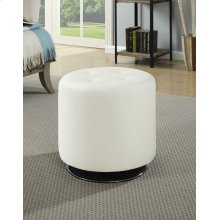 Contemporary White Round Ottoman