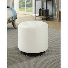 Contemporary White Round Ottoman