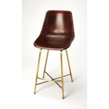 Enhance your kitchen, bar or work space with this contemporary leather counter stool. Its high-back composite seat is fully upholstered in vintage brown leather with distinctive leather cross-stitching. Its iron base features a footrest and X stretcher in