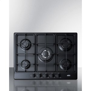 "Summit5-burner Gas Cooktop Made In Italy In A Black Matte Finish With Sealed Burners, Cast Iron Grates, and Wok Stand; Fits Standard 24"" Wide Cutouts"