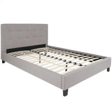 Queen Size Upholstered Platform Bed in Light Gray Fabric